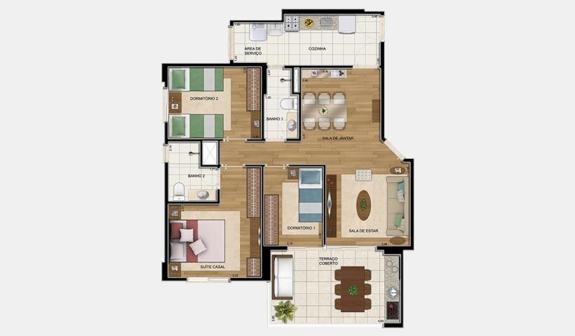 Clima Mascote – Planta tipo 110 m² 3 Dorms.