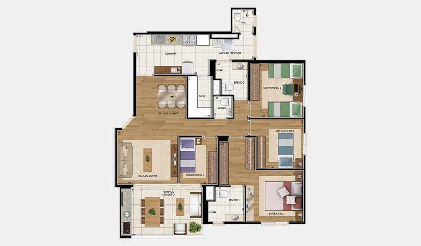 Clima Mascote – Planta 110 m² 4 Dorms.