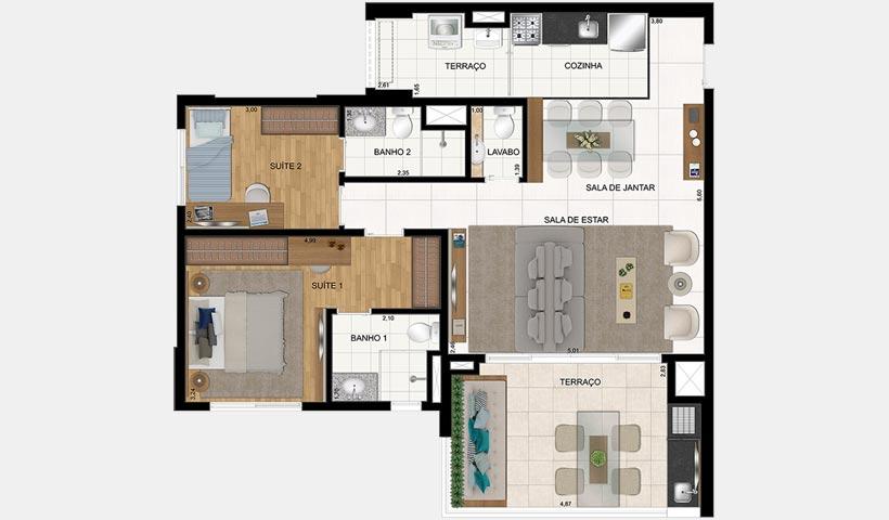 Clima São Francisco – Planta de 86 m² 3 Dorms.