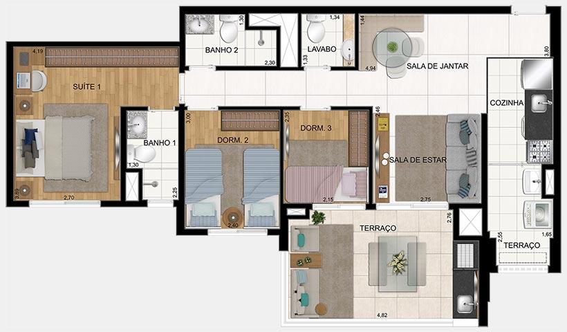 Clima São Francisco – Planta de 86 m² 3 Dorms. - 2