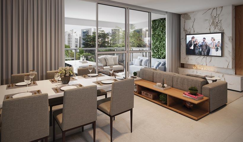 Diogo Ibirapuera – Living do apto. de 100 m²