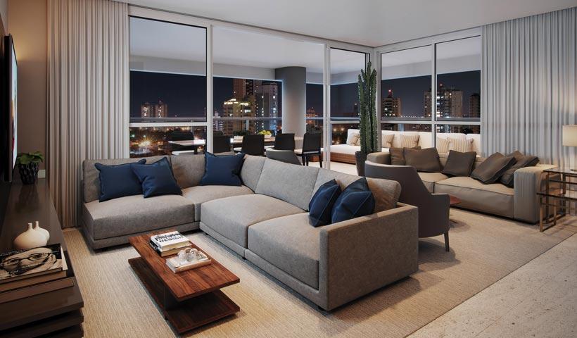 Diogo Ibirapuera – Living do apto. de 170 m²