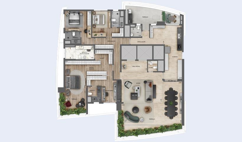 EZ Infinity - Planta Opção de 276 m²