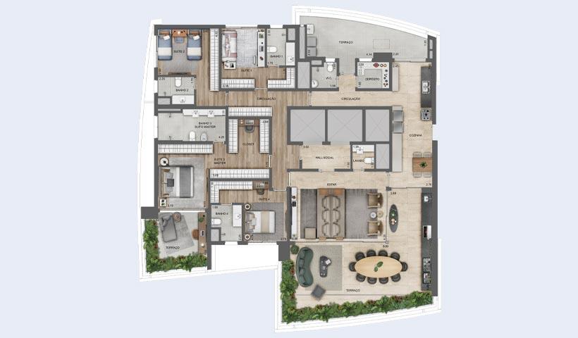 EZ Infinity - Planta Tipo de 276 m²