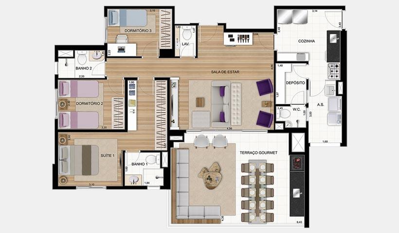 Gran Quadra Giardino – Planta de 123 m² 3 dorms. e living ampliado