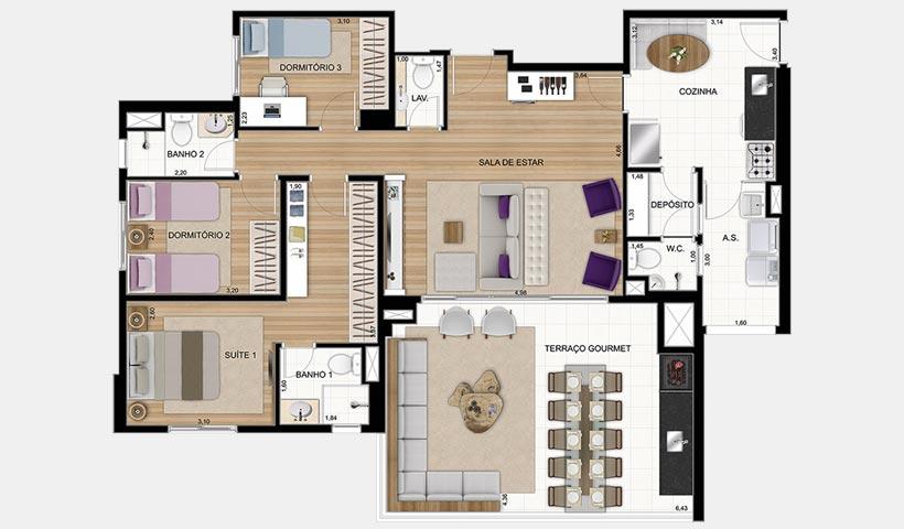 Gran Quadra Giardino – Planta de 123 m² 3 dorms. e living e cozinha ampliados