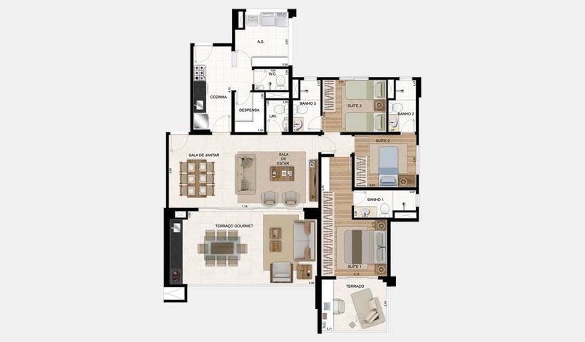 Gran Quadra Palazzo – Planta de 135 m² 3 dorms.