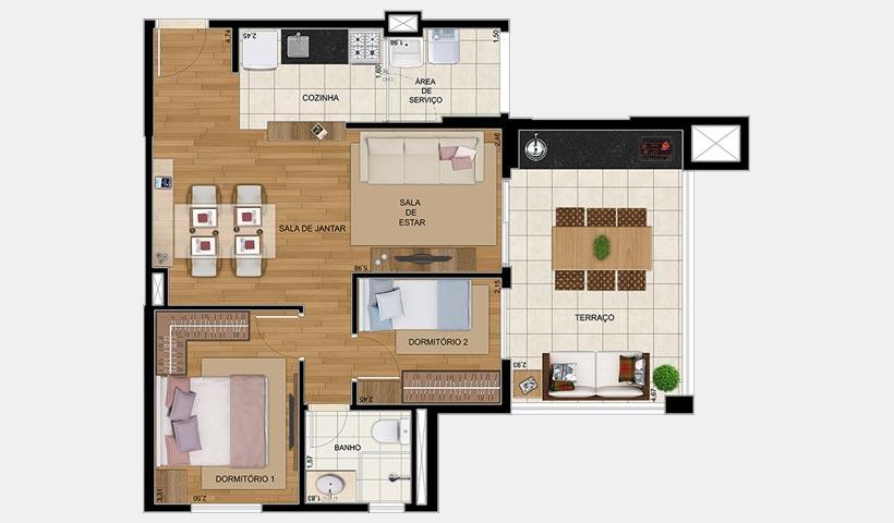 Gran Village Vila Formosa – Planta de 65 m² 2 dorms.