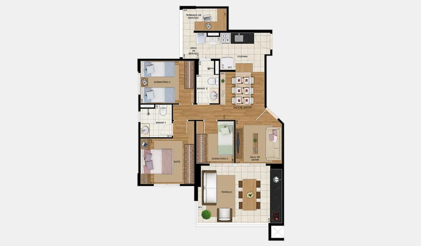 Gran Village Vila Formosa – Planta de 85 m² 3 dorms.