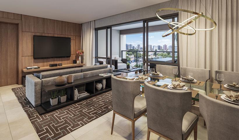 Haute Ibirapuera – living de 136 m² com sugestão de decoração (opção ampliada)