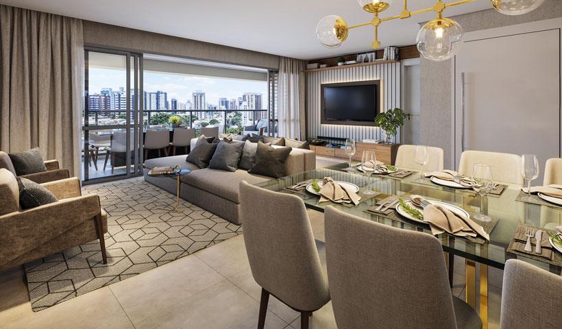Haute Ibirapuera – living de 156 m² com sugestão de decoração (opção ampliada)