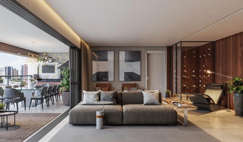 Haute Ibirapuera – living de 181 m² com sugestão de decoração (opção ampliada)