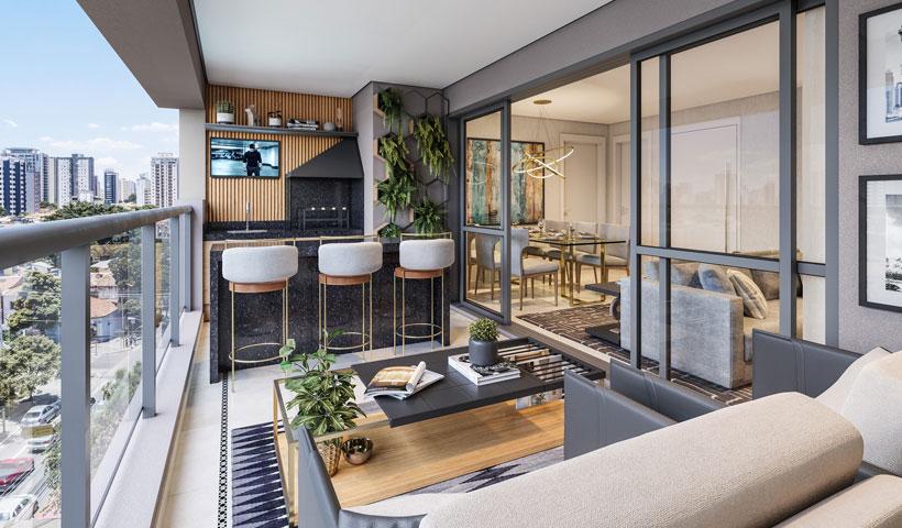 Haute Ibirapuera – terraço de 136 m² com sugestão de decoração (opção ampliada)