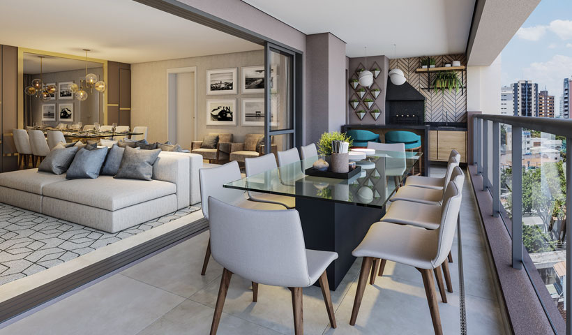 Haute Ibirapuera – terraço de 156 m² com sugestão de decoração (opção ampliada)