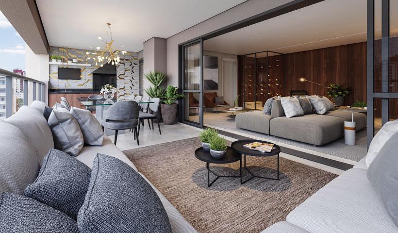 Haute Ibirapuera – terraço de 181 m² com sugestão de decoração (opção ampliada)