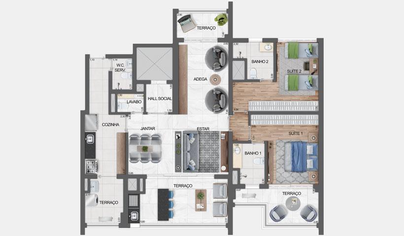 Haute Ibirapuera – Planta opção com living ampliado do apartamento de 136 m² privativos com sugestão de decoração - final 3 – 2 suítes