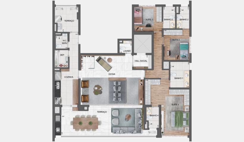 Haute Ibirapuera – planta opção com living ampliado do apartamento de 181 m² privativos com sugestão de decoração - final 1 - 3 suítes