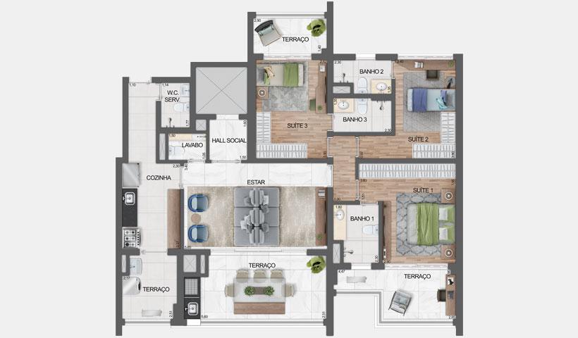 Haute Ibirapuera – planta tipo do apartamento de 136 m² privativos com sugestão de decoração - final 3 – 3 suítes