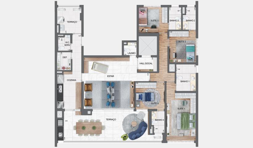 Haute Ibirapuera – planta tipo do apartamento de 181 m² privativos com sugestão de decoração - final 1 – 4 suítes