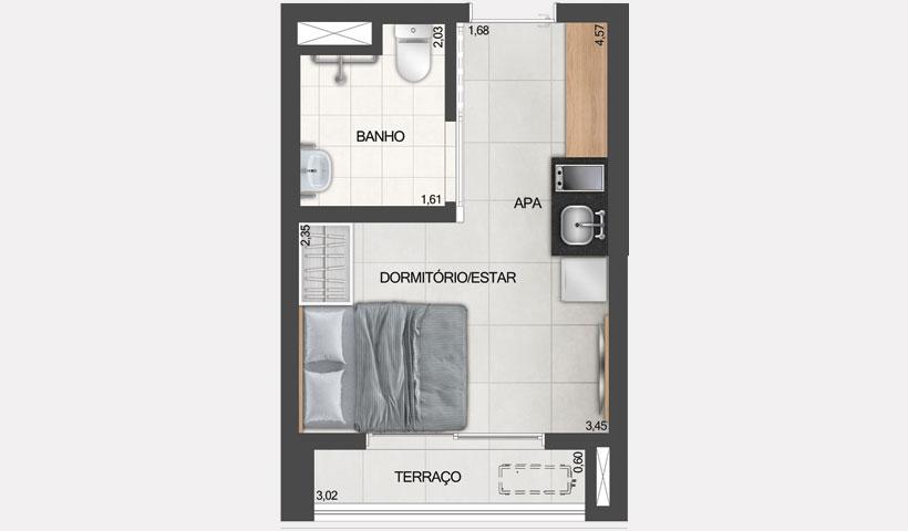 ID Jauperi – planta studio de 20 m² com sugestão de decoração final 02