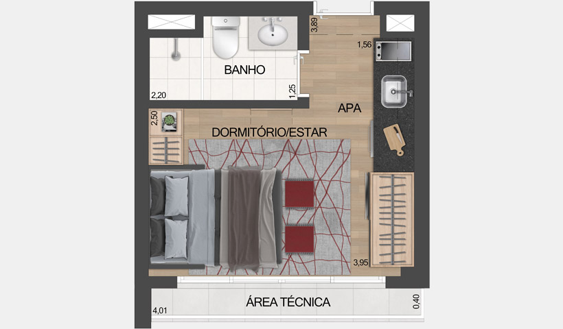 ID Lisboa - Stúdio Residencial de 20,20 m² com sugestão de decoração