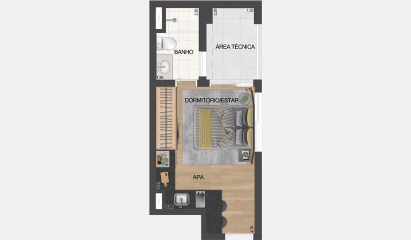 ID Lisboa - Stúdio Residencial de 26,02 m² com sugestão de decoração