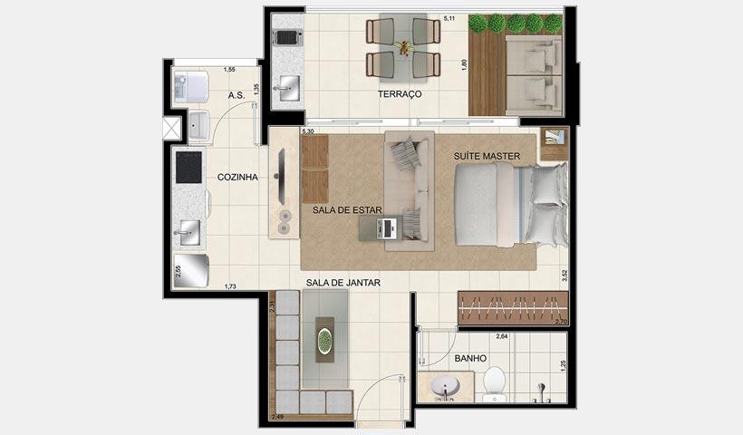In Design Residence – Planta de 48 m² 1 dorm.