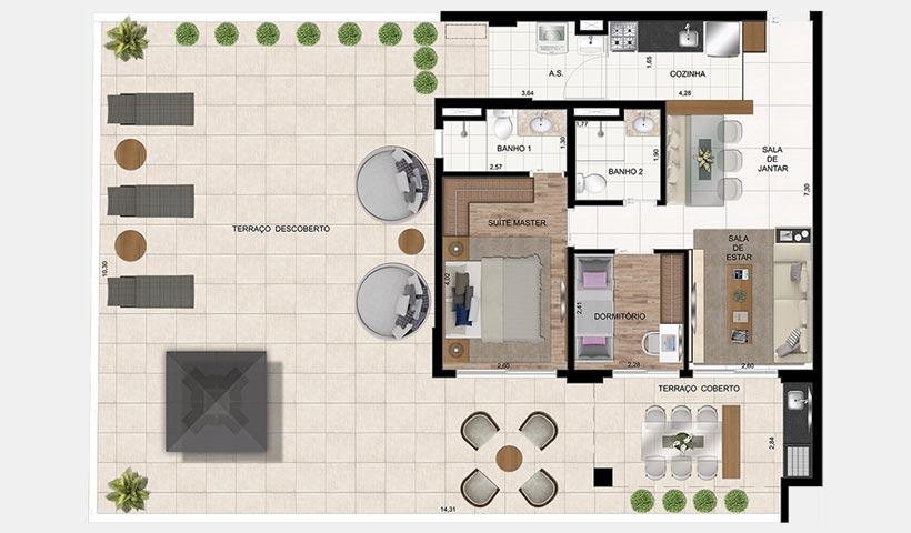 In Design Liberdade – Planta de 162 m² 2 dorms.