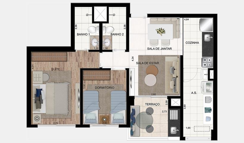 In Design Liberdade – Planta de 65 m² 2 dorms.