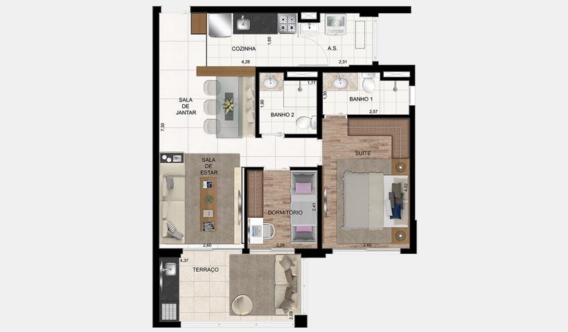 In Design Liberdade – Planta de 70 m² 2 dorms.
