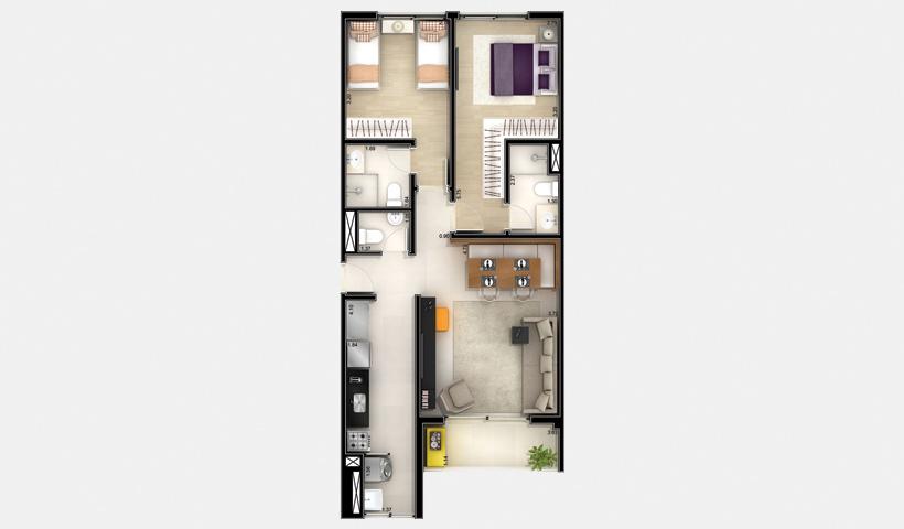 Jardins do Brasil Abrolhos – Planta 2 de 76 m² 2 Dorms.
