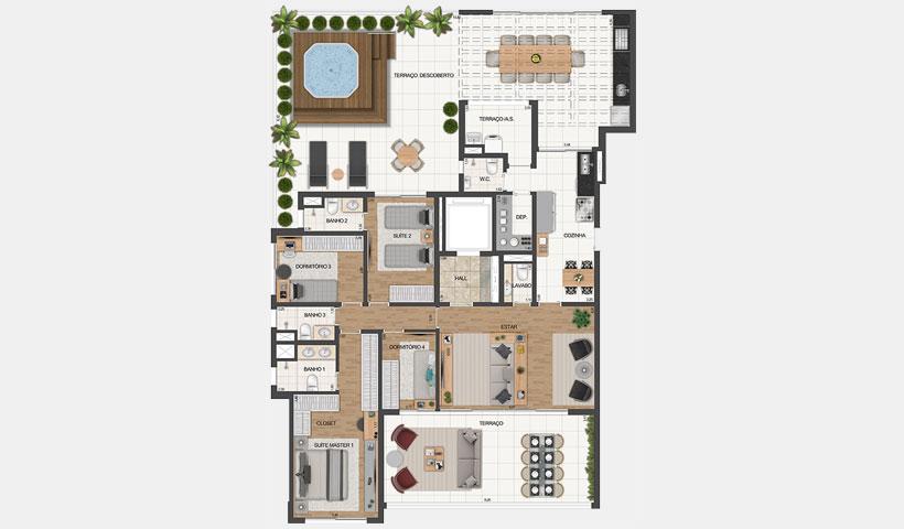 Le Jardin Ibirapuera – Planta tipo do apto. garden de 245 m²
