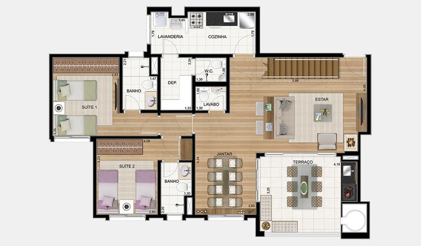 Le Premier Campos do Jordão – Planta inferior da penthouse 158 m²