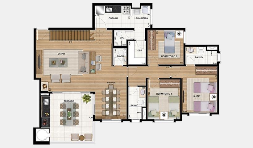 Le Premier Campos do Jordão – Planta inferior da penthouse 189 m²