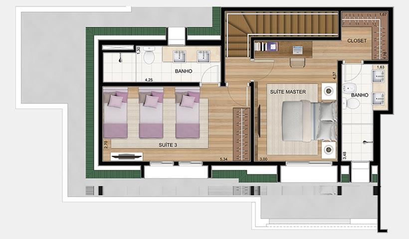 Le Premier Campos do Jordão – Planta superior da penthouse 158 m²