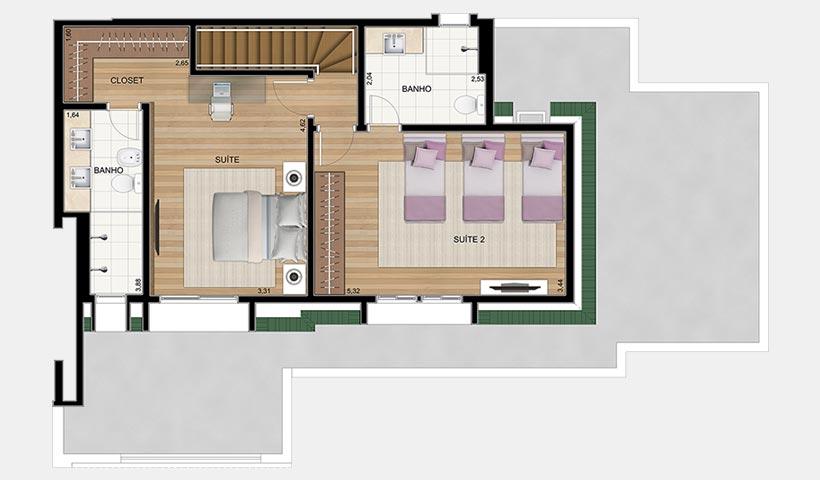Le Premier Campos do Jordão – Planta superior da penthouse 189 m²