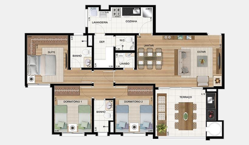 Le Premier Campos do Jordão – Planta 101 m² 3 dorms.