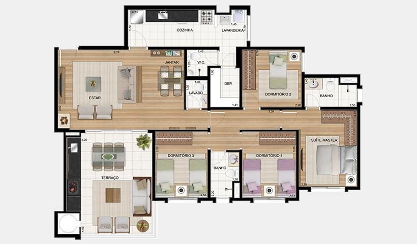 Le Premier Campos do Jordão – Planta 127 m² 4 dorms.