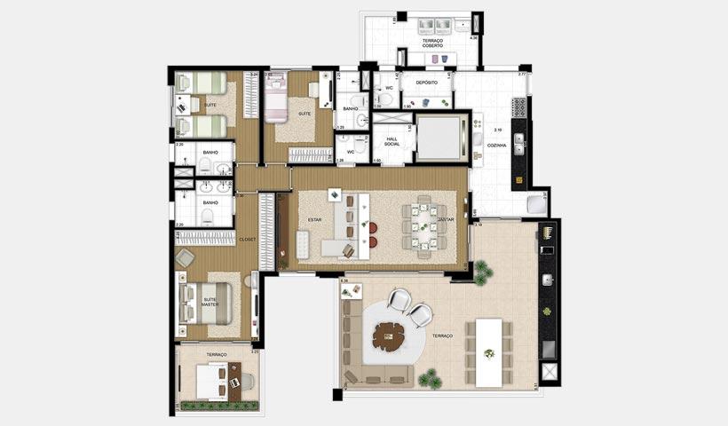 Le Premier Paraíso – Planta opção 181 m²