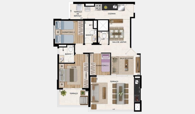 Legittimo Alto de Santana – Planta 92 m² com 3 dorms.