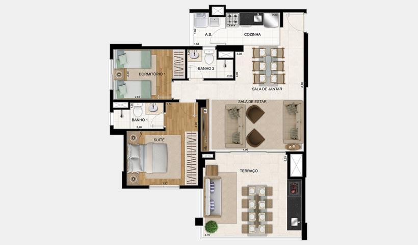 Magnífico Mooca – Planta 85 m² 2 dorms.