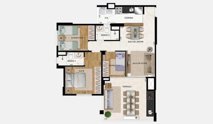 Magnífico Mooca – Planta 85 m² 3 dorms.