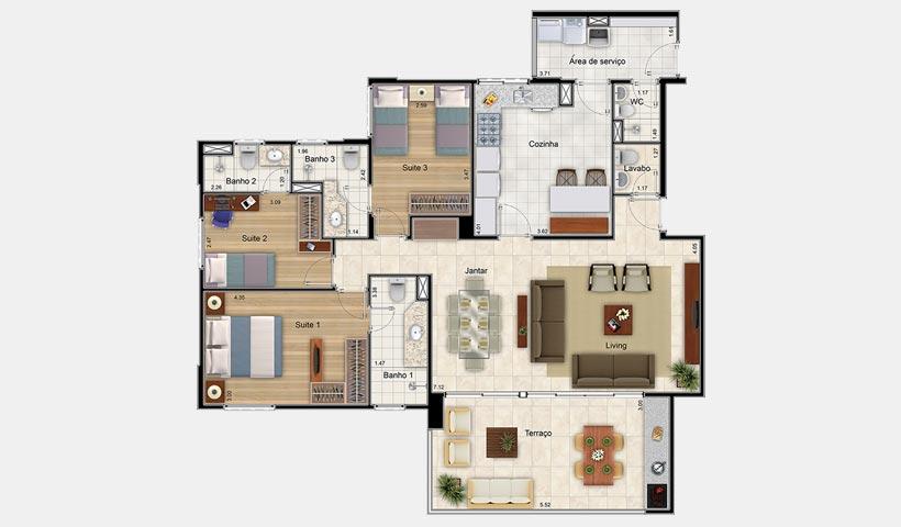 Massimo Residence – Planta 132 m² 3 suítes