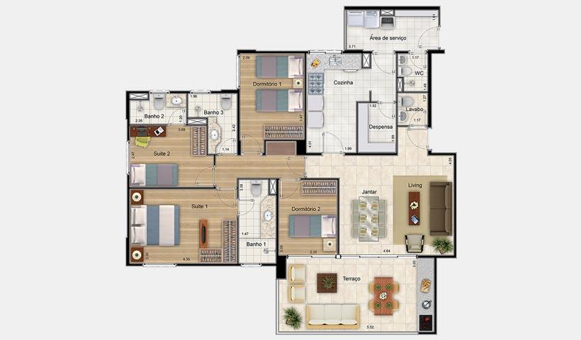 Massimo Residence – Planta 132 m² 4 dorms.