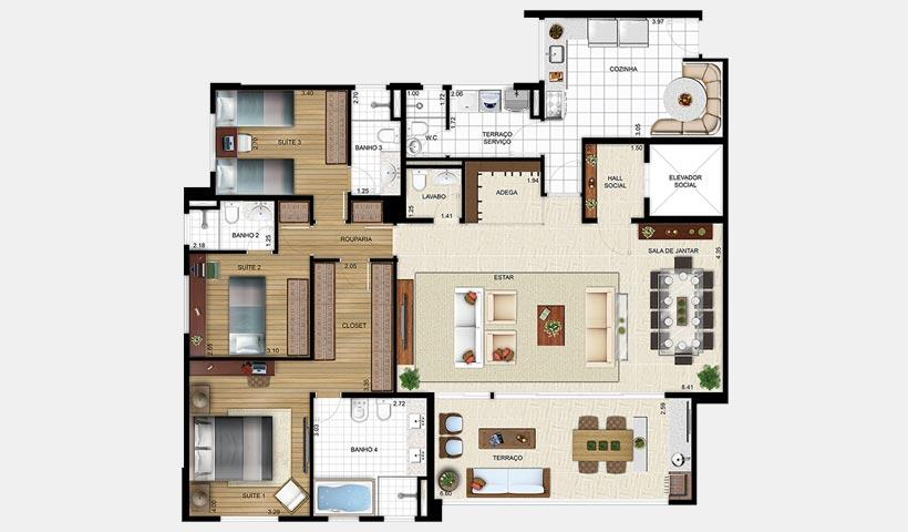 Massimo Residence – Planta 155 m² 3 suítes