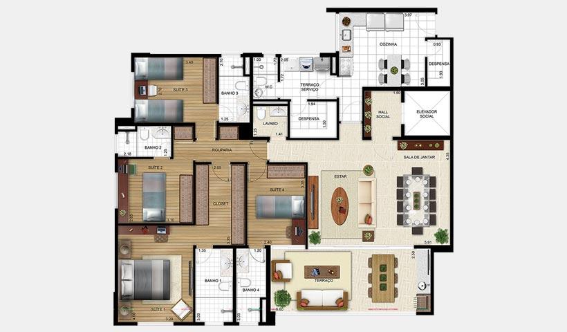 Massimo Residence – Planta 155t m² 4 suítes