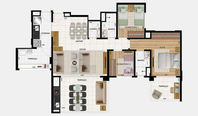 Massimo Vila Carrão – Planta opção 103 m² 3 dorms - 2