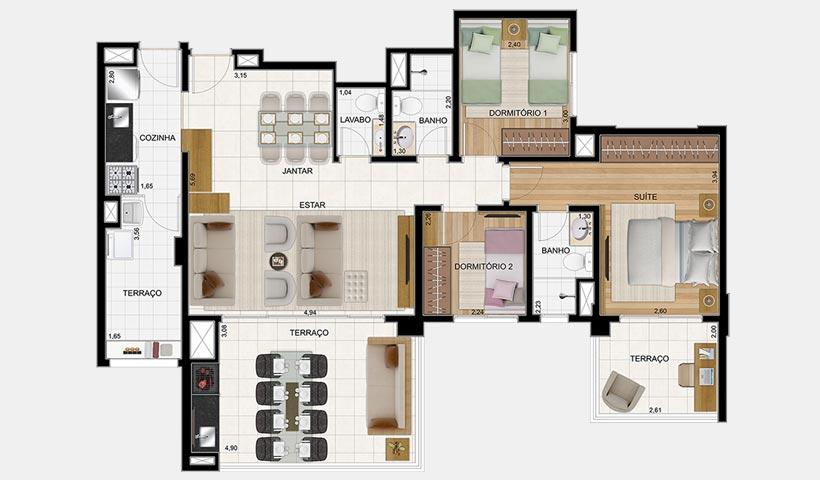 Massimo Vila Carrão – Planta opção 103 m² 3 dorms.