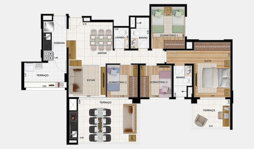 Massimo Vila Carrão – Planta tipo 133 m² 4 dorms. - 2