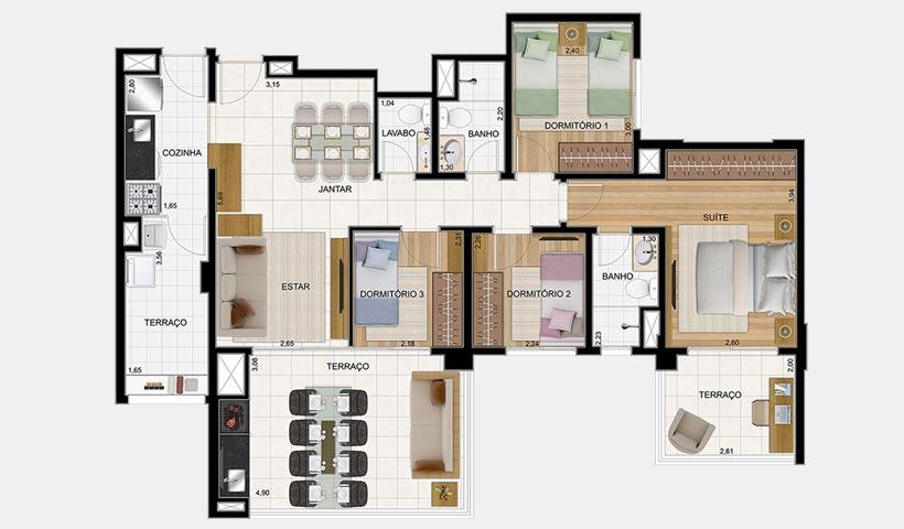 Massimo Vila Carrão – Planta tipo 133 m² 4 dorms.